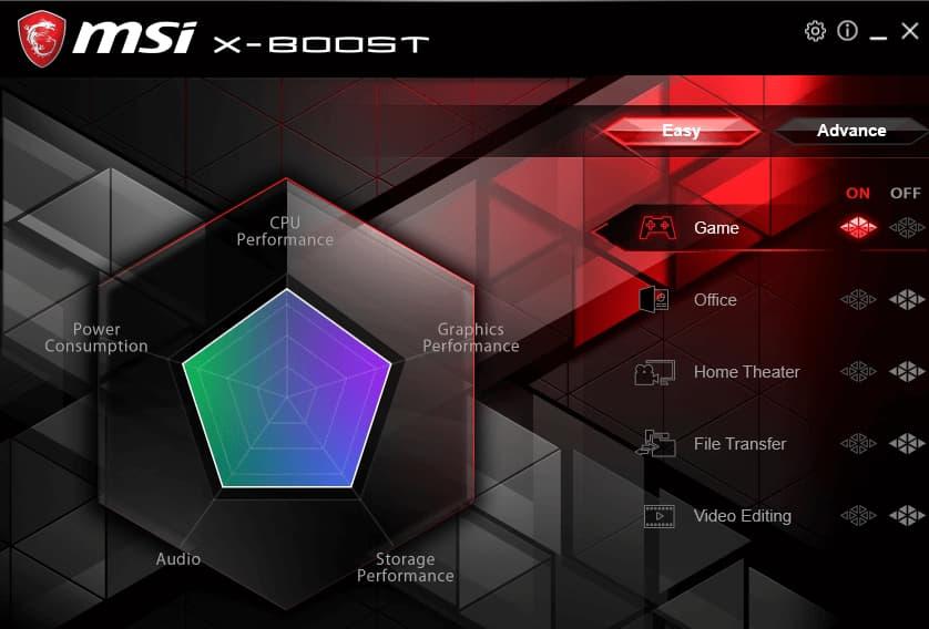 MSI X-Boost interface